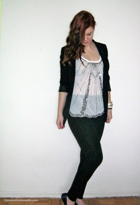 Blazer- H&M, Top- Smart Set, Leggings- American Apparel, Flats- Urban Outfitters