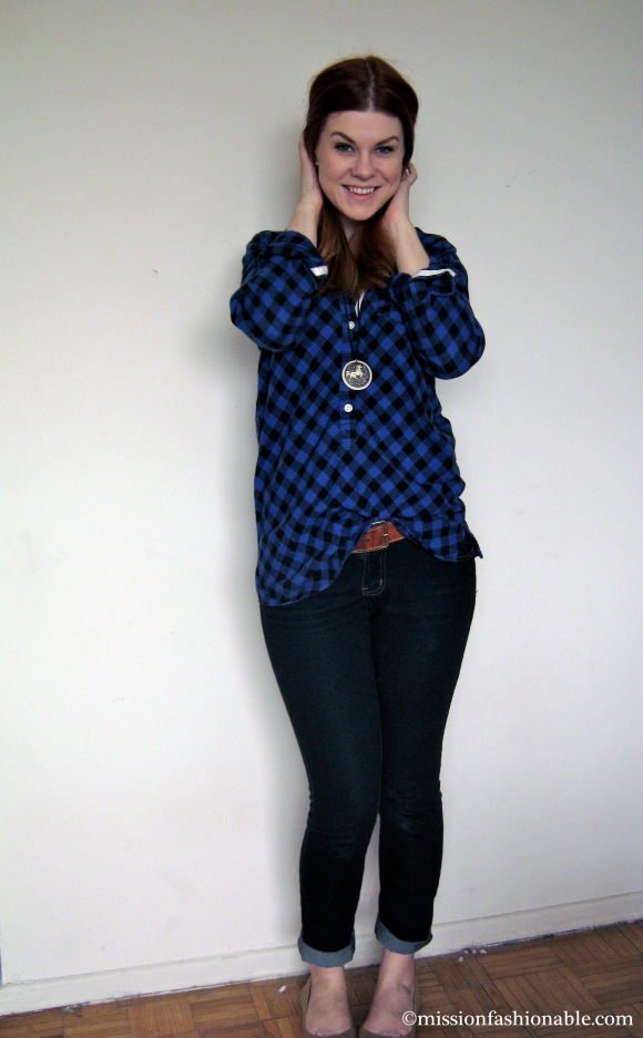Shirt- Joe Fresh, Necklace- vintage, Belt- H&M, Jeans and Ring- Ardene, Flats- Old Navy