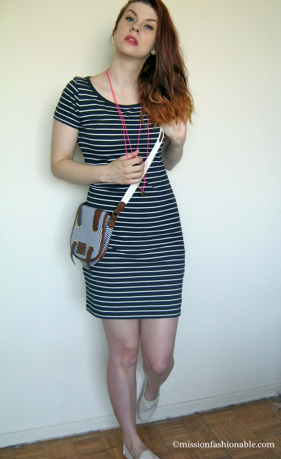 Dress- Joe Fresh, Necklace- Ardene, Bag- gifted, Shoes- TOMS